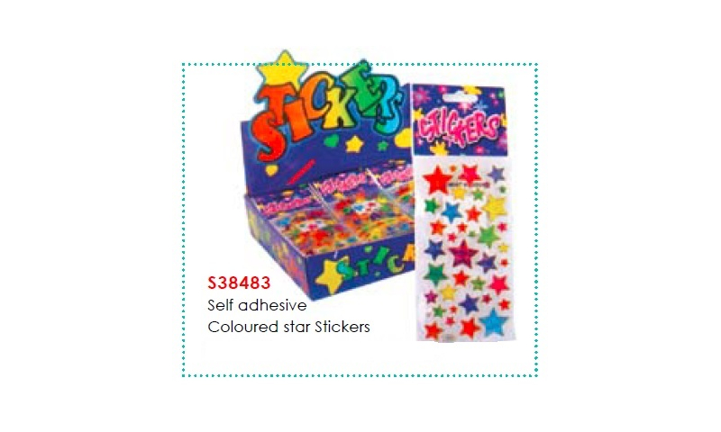 Self Adhesive Coloured Star Stickers: On Special Offer - Half Trade Price