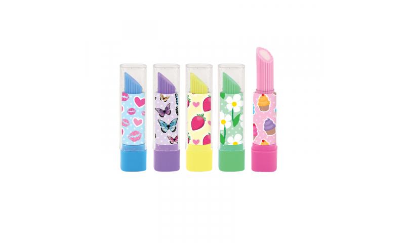 Novelty Lipstick Twist Up Eraser, 5 Asstd (New Lower Price for 2021)