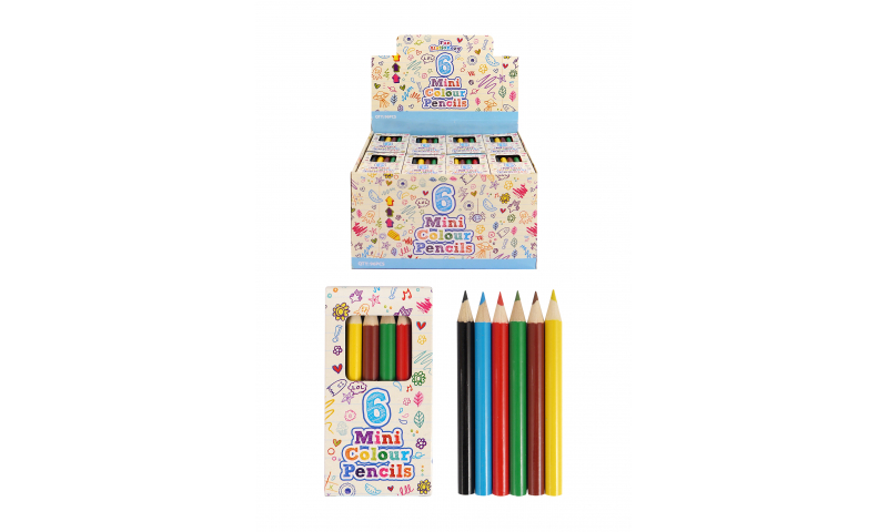 Mini Colouring Pencils 6 Pack - Retail Display Boxed