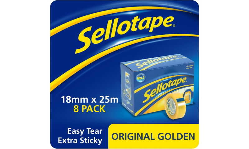 Sellotape Original Golden Tape 18x25m Small Core (New Lower Price for 2021)