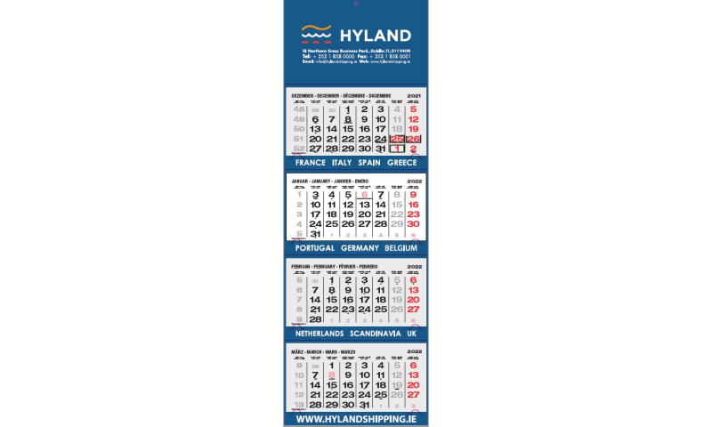 Easyview Wall Shipping Calendar 2022, 4 months to view