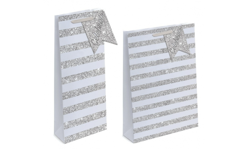 Silver Stripe Glitter Gift Bags EX-Large, 440 x 320 x 110mm, Shaped Tag