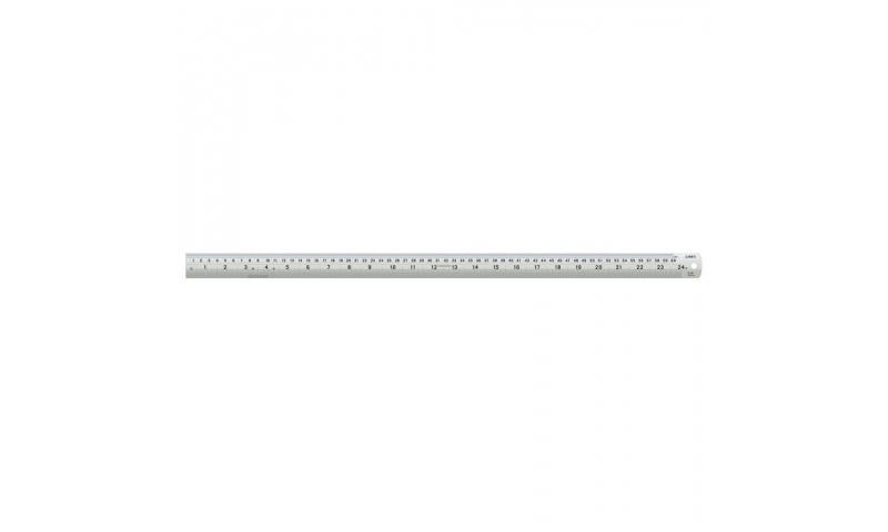 "Linex Steel Ruler, Edge to Edge Measuring, Multiple Calibrations, Flat Metal, 24""/60cm"