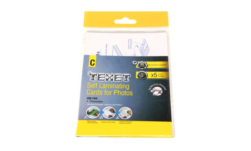 Texet A6 Photo Size Self Lamination Pouches, 5pk Hangpacked. (New Lower price for 2021)