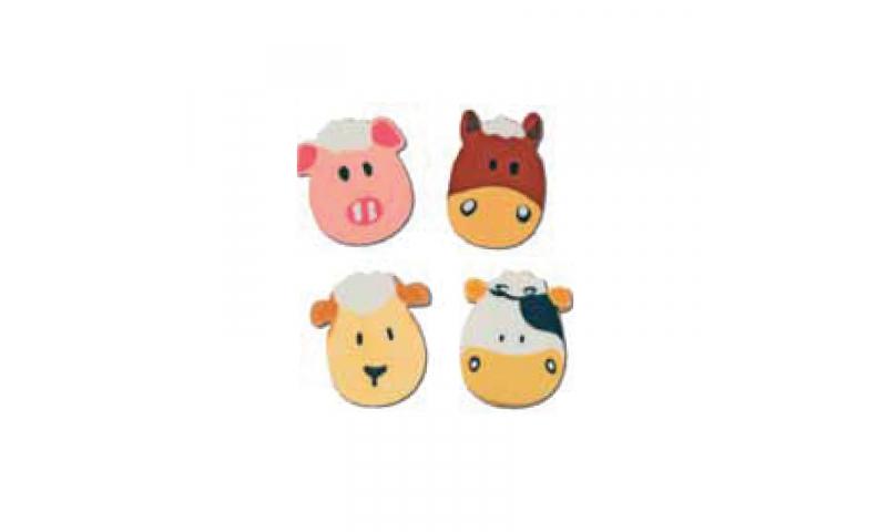 Novelty Farm Shaped Head Erasers, 4 Asstd
