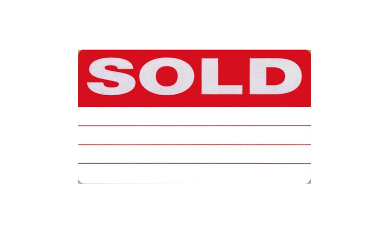 Lynx 68 x 40mm SOLD Labels Roll of 1000 Red / White