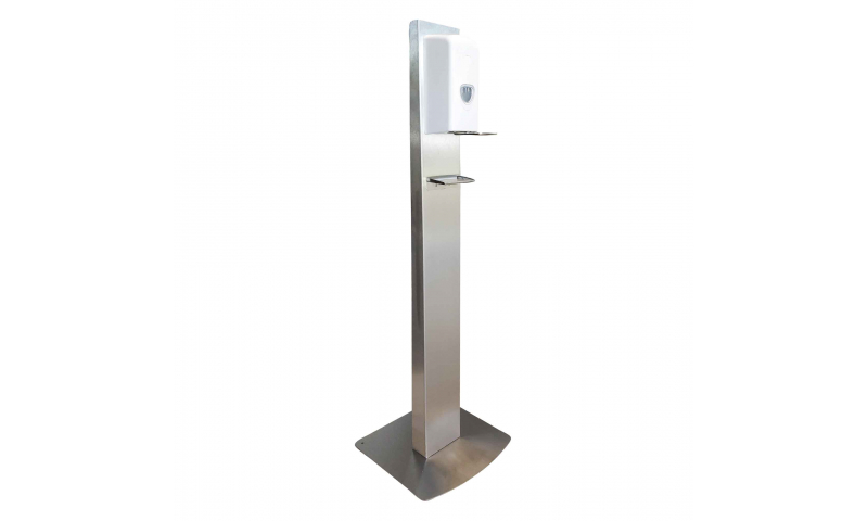 SANITISATION STAND WITH HANDS FREE BULK FILL DISPENSER AND DRIP TRAY