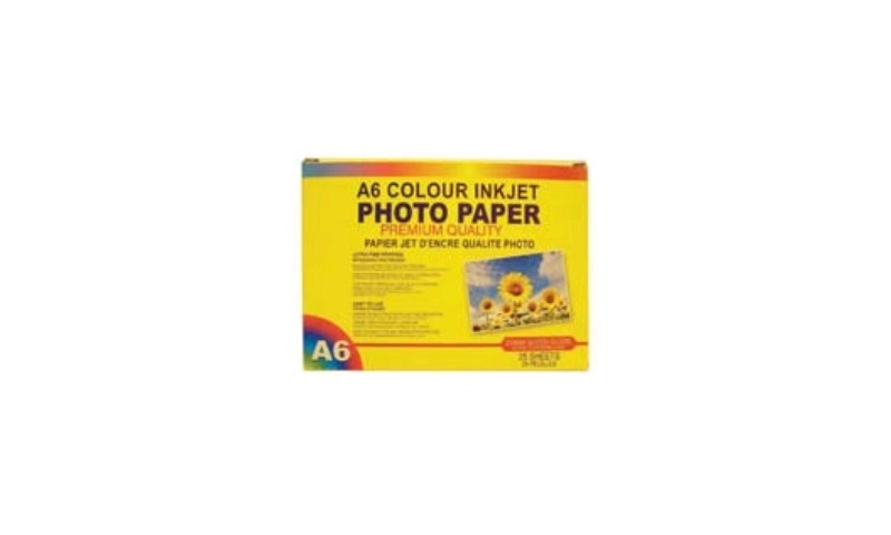 """Ink Jet White Photo Gloss Paper 220g A6 - 6x4"""", 25 Sheet Pack: New Lower Price for 2021 - Half Trade Price"""