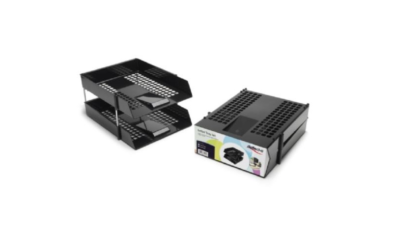 Deflecto Twinpack Universal Lettertray with Risers, Retail Pack, Black (New Lower Price for 2021)