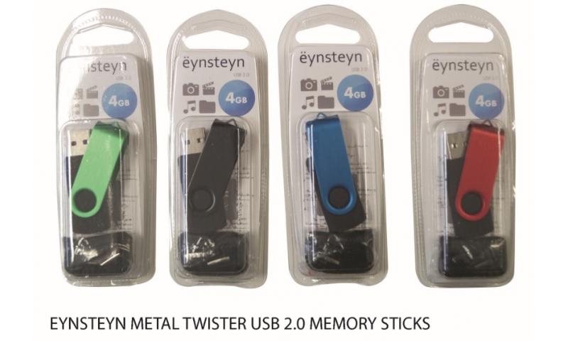 Ëynsteyn 2gb Metal Twister Memory Stick with FREE Neck Cord Lanyard, 4 Asstd, Hangpack.  (New Lower Price for 2021)