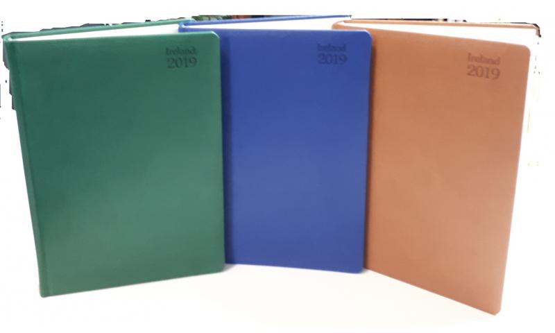 Tara A5 Irish Deluxe Daily Desk Diary 2022, Soft Velvet Cover, Cream Paper, 4 Asstd Colours