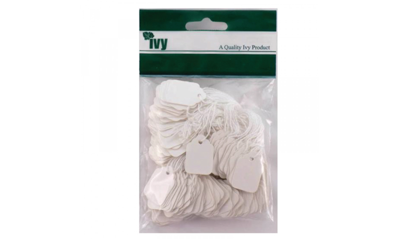 IVY STRUNG TAGS 43x70mm, White, Hang Pack of 100