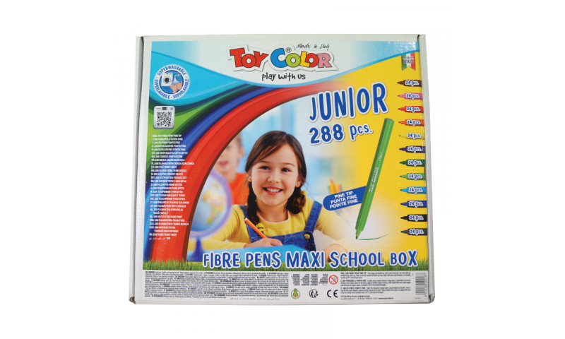 Toycolor Junior Superwashable Fibrepens, 12 Colours, 288 Class pack. (New Lower Price for 2021)