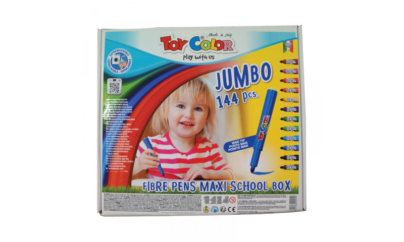 Toycolor Jumbo Superwashable Fibrepens, 12 Colours, 144 Class pack. (New Lower Price for 2021)