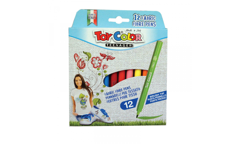 Toycolor Junior Fabric Marking Fibrepens 12 Pack. (New Lower Price for 2021)