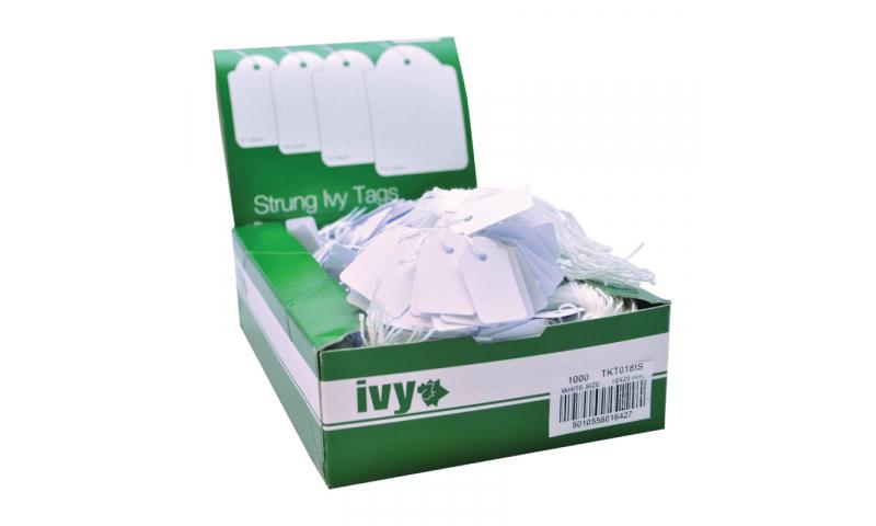 IVY STRUNG TAGS 18x29mm, White - Bundles of 10 x 100