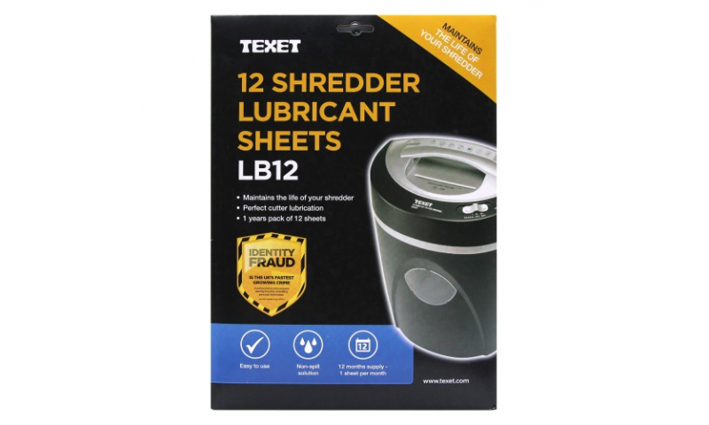 Texet Shredder Lubricant Sheets, pack 12 (New Lower Price for 2021)