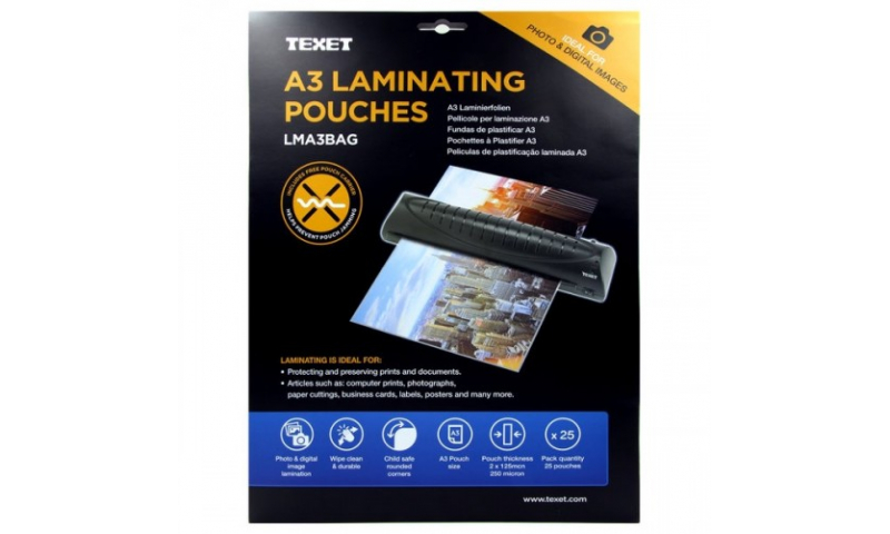 Texet A3 Lamination Pouches, 250mic, Pack of 25