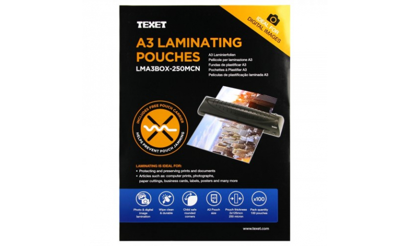 Texet A3 Lamination Pouches, 250mic, Box of 100 (New Lower Price for 2021)