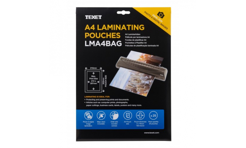 Texet A4 Lamination Pouches, 150mic, Pack of 25