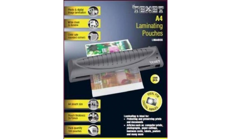 Texet A4 Lamination Pouches, 150mic, Box of 100