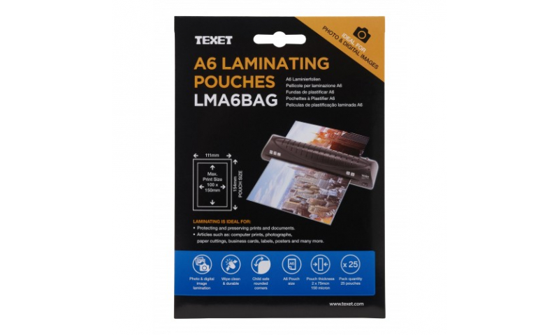 Texet A6 Lamination Pouches, 150mic, Pack of 25 (New Lower Price for 2021)