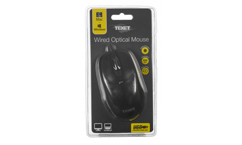Texet 3 Button, USB, Wired Mouse, Blister Pack, 2 Asstd