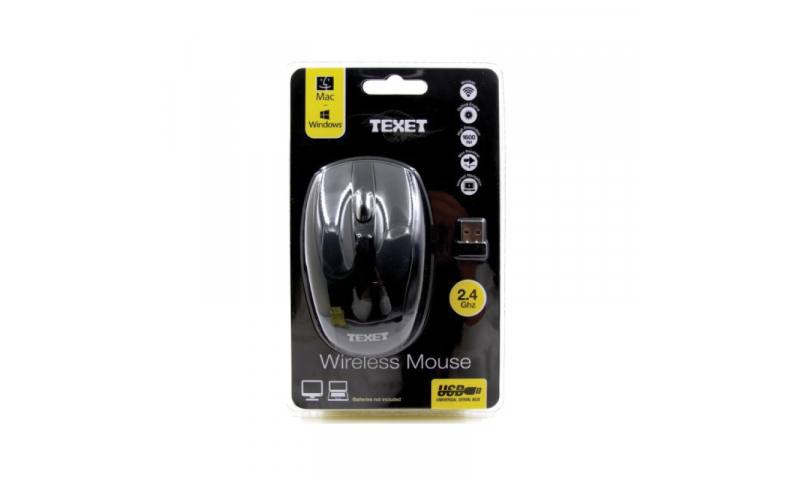 Texet Wireless PC 6 Button Mouse Black (New Lower Price for 2021)