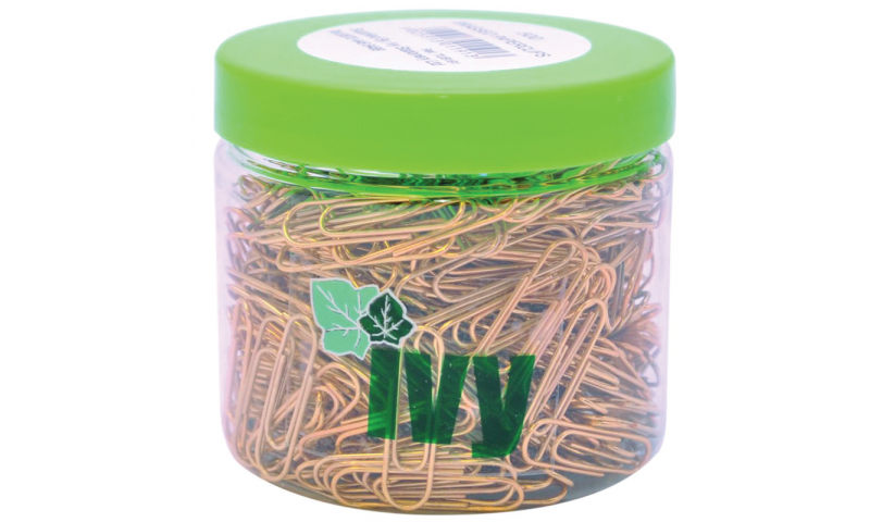 IVY Necessities Tubs Paperclips Brass, 25mm, Qty 500