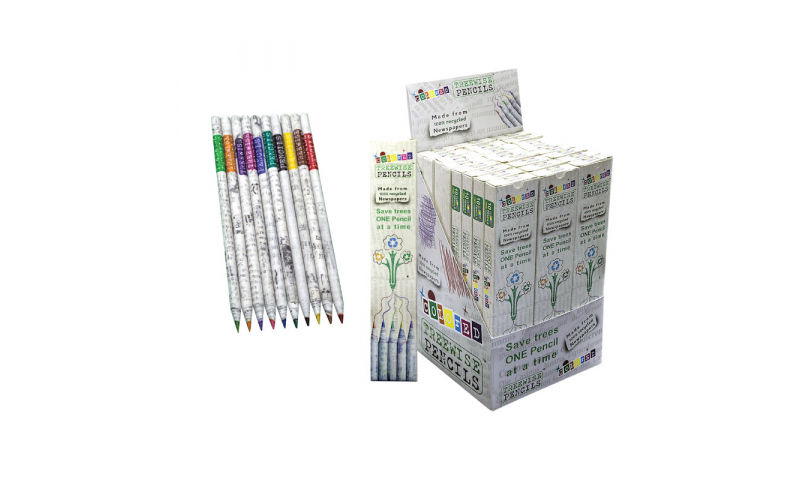Treewise Recycled Newspaper Coloured Pencils, Leadsafe Guarantee, Box of 10 Colours