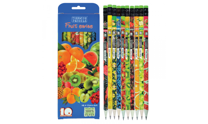 Treewise Recycled Newspaper HB Pencils with Eraser, Fruit range Asstd Graphics, Box of 10 Hangpack