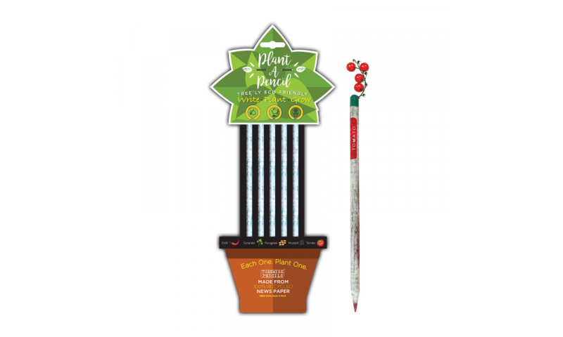 """Treewise Recycled Newspaper HB """"Plant a Pencil"""" 5pk, 5 Different seeds in top, Carded"""