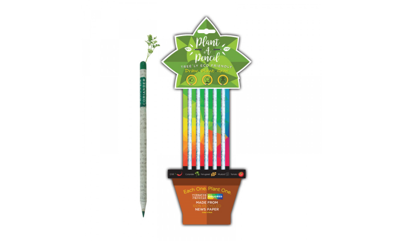 """Treewise Recycled Newspaper Coloured """"Plant a Pencil"""" 5pk, 5 Different seeds in top, Carded"""