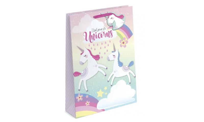 Unicorn Iridescent Glitter Gift Bags Medium, 230 x 320 x 120, Shaped Tag