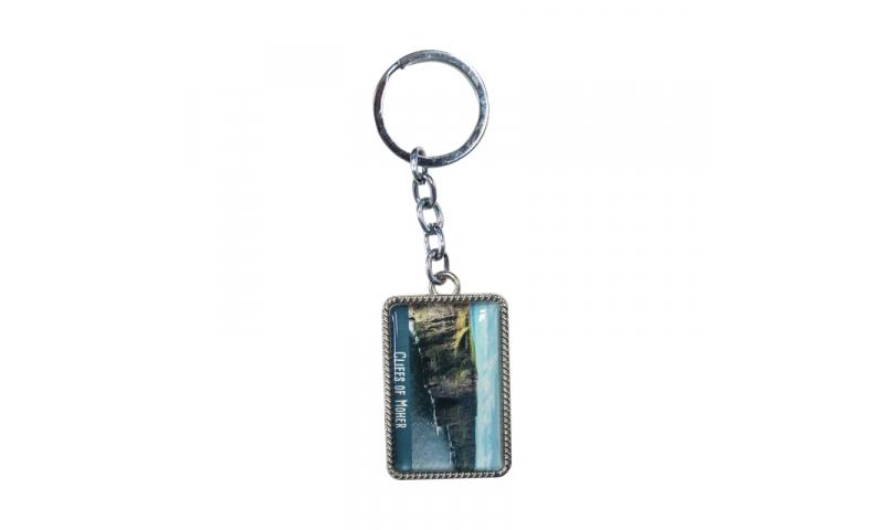 MM2 Resin Domed & Chrome Metal Rectangle Keyring, 50x30mm ^*