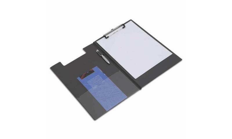 Rapesco Foldover PVC Clipboard, Pocket inside front flap, Pen holder - Black. (New Lower Price for 2021)