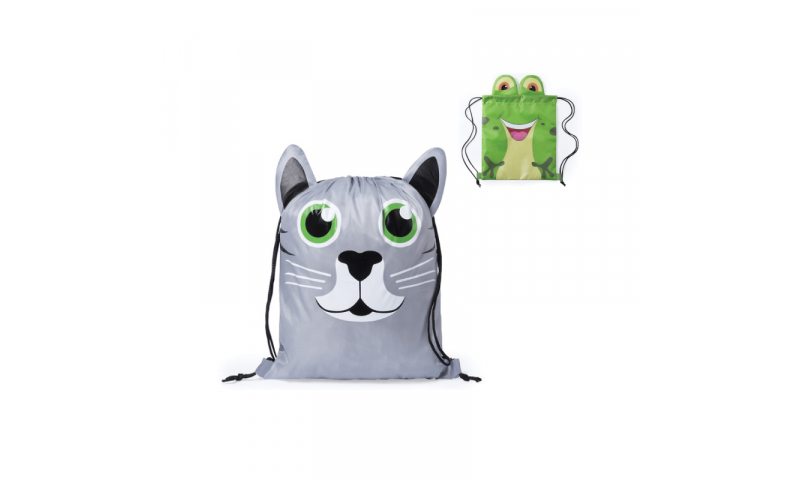 Cat & Frog Drawstring Bag, 1 colour 1 position print inc.