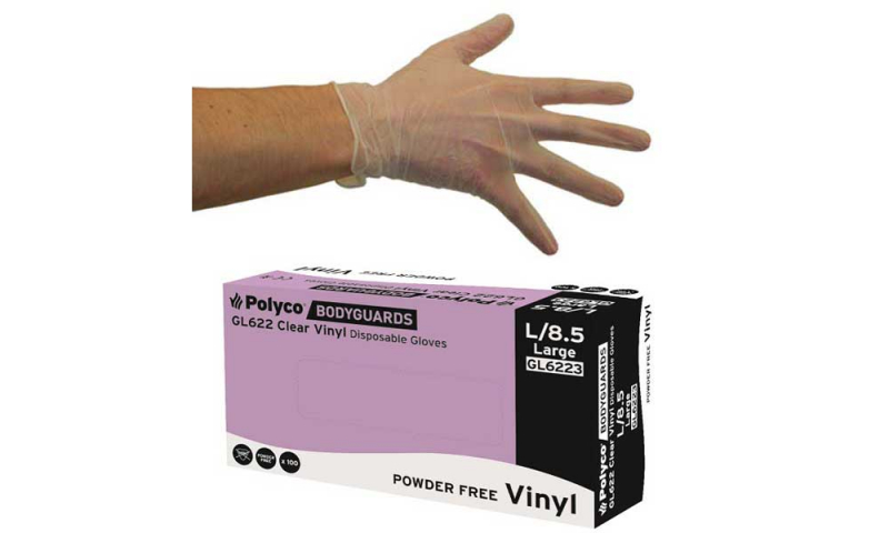 Vinyl Disposable P.F. Gloves, Clear, 100pk Size Large