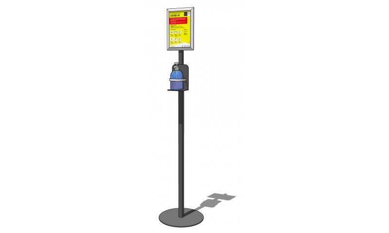 Professional Steel Floor Standing, Sanitiser Stand with A4 Clip Frame Sign