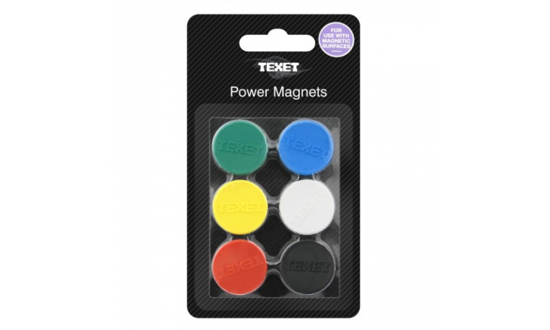 Texet Power Magnets PK6 Assorted Colours