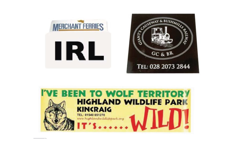 Oblong Window Sticker 4 Colour Print - Hangpacked & Barcoded 14cm x 7cm