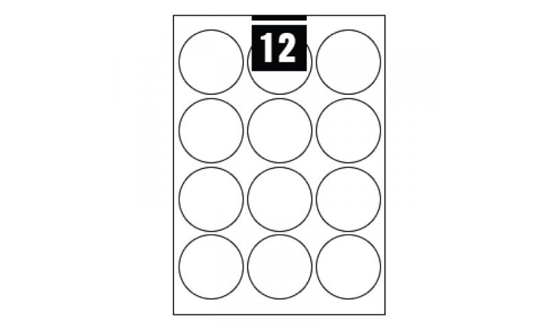 Hovat White Multipurpose Circular Labels - 12 per A4 Sheet,  60mm dia. - 100 sheet Pk