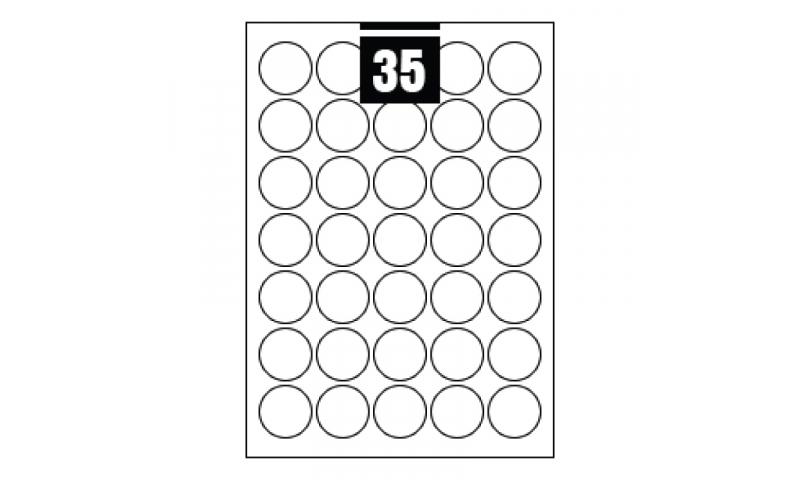 Hovat White Multipurpose Circular Labels - 35 per A4 Sheet,  35mm dia. - 100 sheet Pk