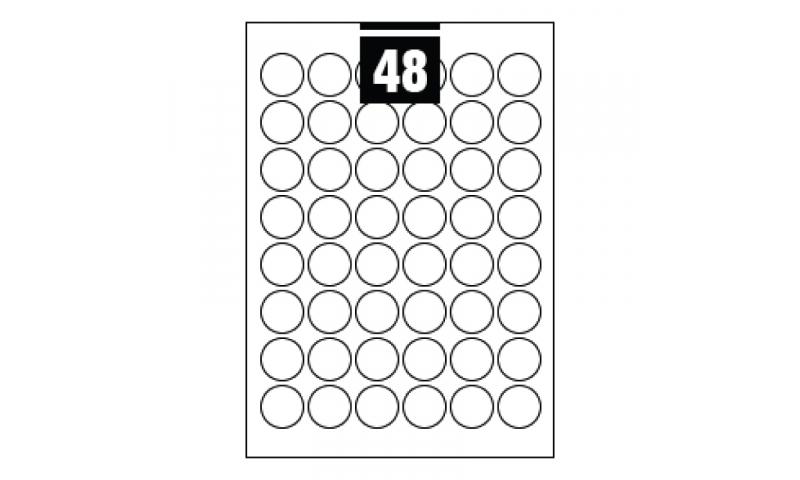 Hovat White Multipurpose Circular Labels - 48 per A4 Sheet,  30mm dia. - 100 sheet Pk