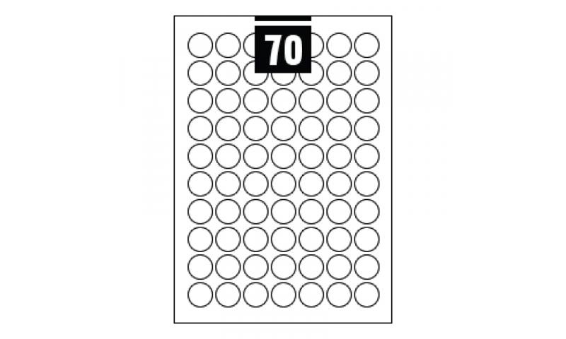 Hovat White Multipurpose Circular Labels - 70 per A4 Sheet,  25mm dia. - 100 sheet Pk