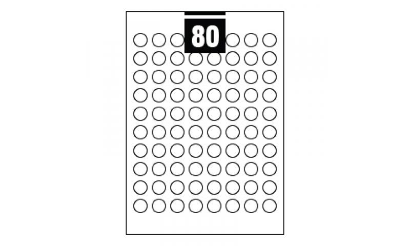 Hovat White Multipurpose Circular Labels - 80 per A4 Sheet,  19mm dia. - 100 sheet Pk