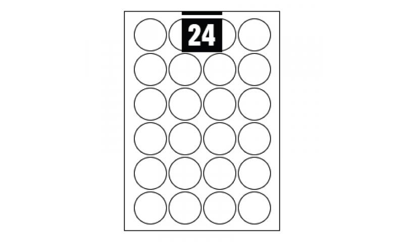 Hovat White Multipurpose Circular Labels - 24 per A4 Sheet, 40mm dia. - 100 sheet Pk