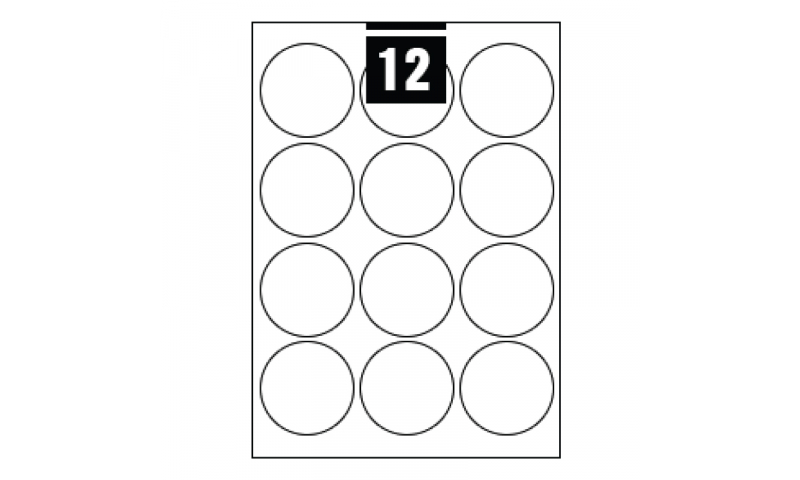 Hovat White Multipurpose Circular Labels - 12 per A4 Sheet,  64mm dia. - 100 sheet Pk