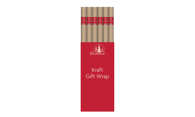 Xmas Kraft Eco Gift Wrapping Paper Roll, 4m Extra Long