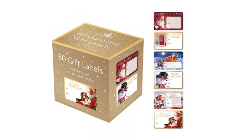 Xmas Tradotional Asstd Gift Labels 80pk Boxed, 6 Asstd